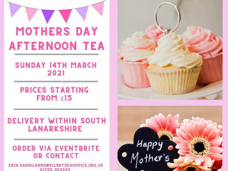 Kilbryde Hospice Mothers Day Afternoon Tea Delivery Service
