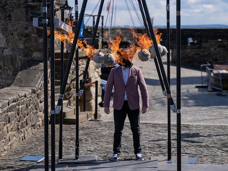 Kevin Quantum, Flaming Canonballs at Edinburgh Castle stunt