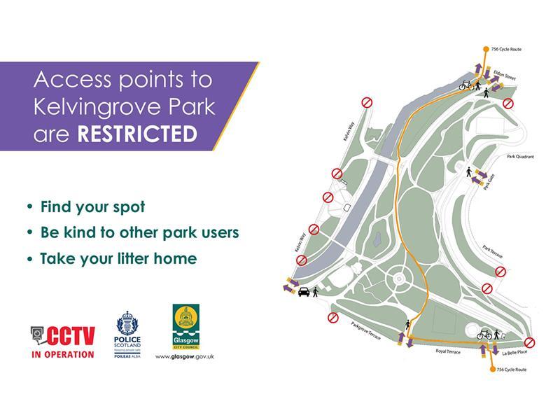 Kelvingrove Park gates locked to help manage large gatherings