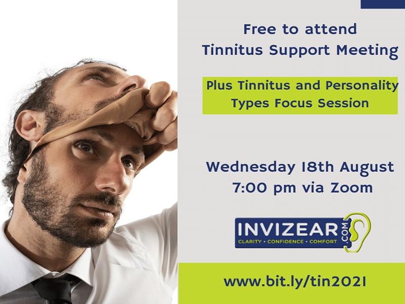 Invizear Online Tinnitus Support Meeting (with focus session on Tinnitus and Personality Types)