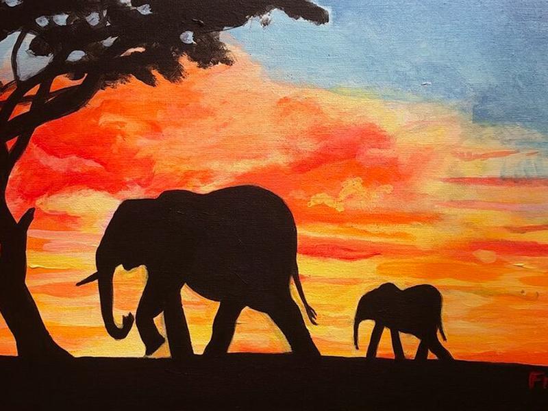 Paint n Sip Elephants with Blaeberry River Art