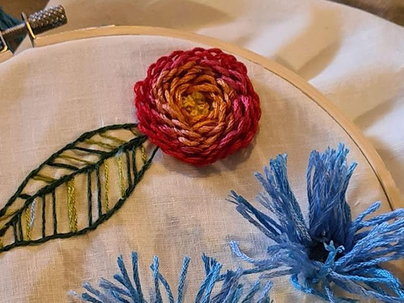 3D Embroidered Flowers Sewing Session