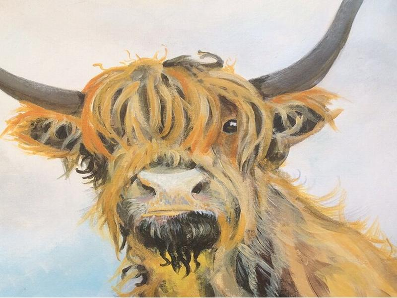 Paint n Sip Heiland Coo with Blaeberry River Art