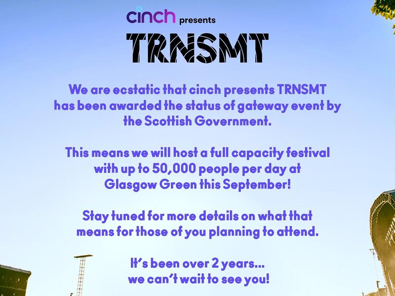 cinch presents TRNSMT Festival confirmed as Gateway Event