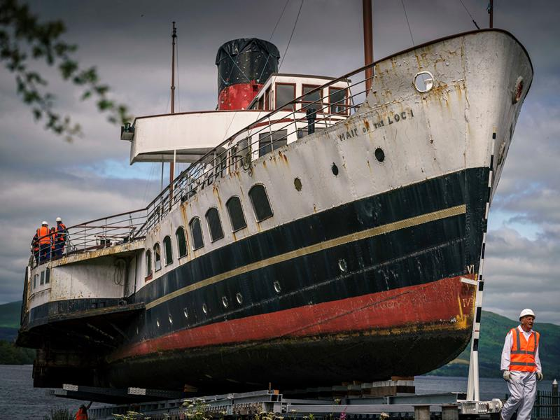 120yr old 430 tonne Maid of the Loch hauled out of Loch Lomond for restoration work