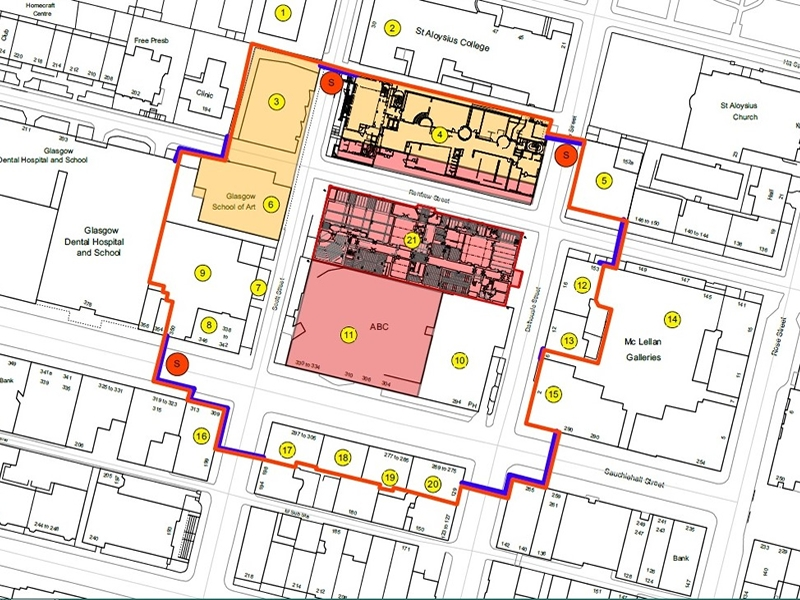 Glasgow City Council update exclusion zone at Glasgow School of Art site