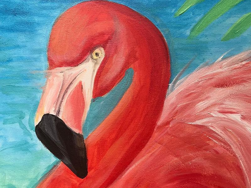 Paint n Sip Flamingo with Blaeberry River Art