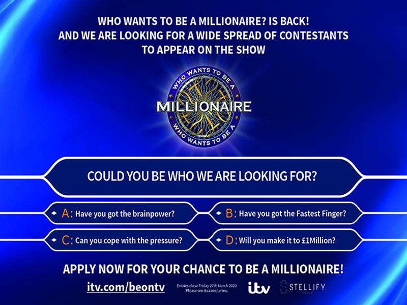 Who Wants To Be A Millionaire: Applications Open!